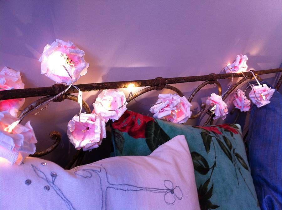Paper Rose LED Battery Powered Fairy Lights Lights Enchanted - Flower lights for bedroom