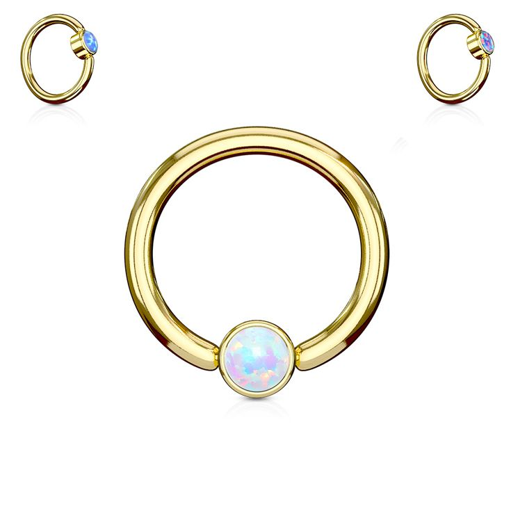 Starting this week with our new Opal Set Round Flat Cylinder Captive Rings Gold IP Over 316L surgical Steel #Wholesale #BodyJewelry #Piercing #Jewelry #BodyPiercing #Gold #SeptumRings #SeptumPiercing #CartilageRings #CartilagePiercing #HelixRings #HelixPiercing