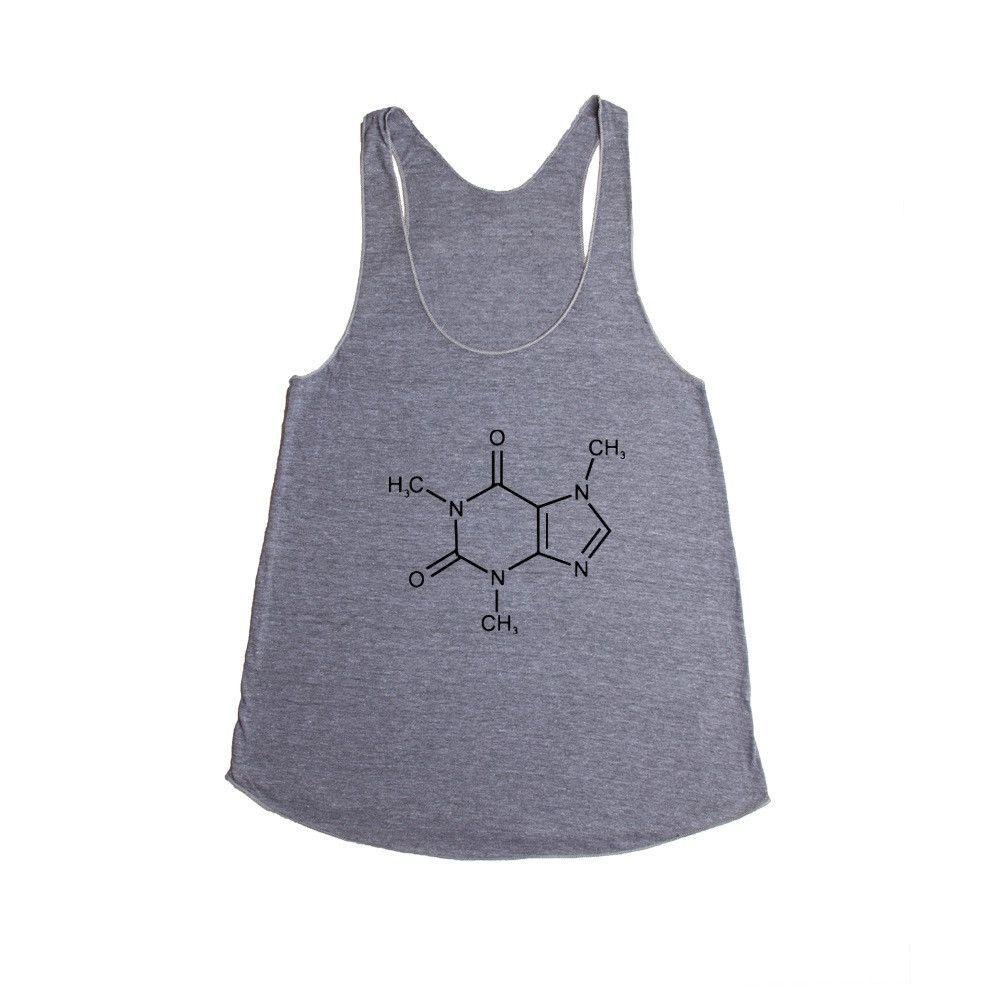 Caffeine Molecule Molecules Coffee Cafe Energy Science School Pun Puns Play On Words Funny Unisex Adult T Shirt SGAL3 Women's Racerback Tank