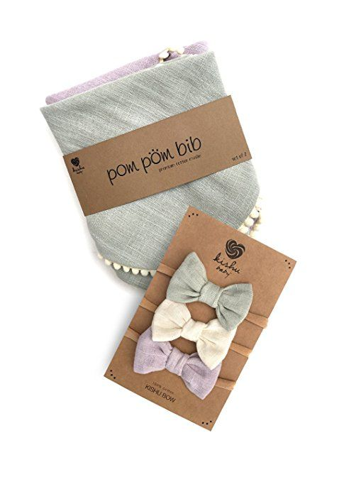 Kishu Baby Girl Pom Pom Bibs And Bows Gift Set For Girls Sage Ivory Lavender Multicolor One Size Baby Bow Sets Bib Gift Set Bow Set