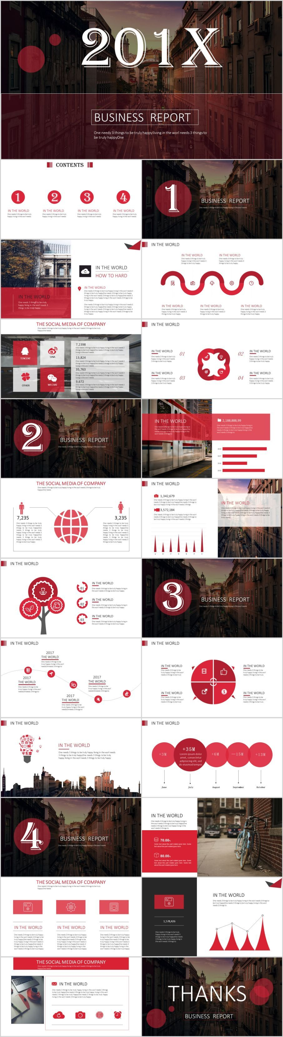 23 red business report PowerPoint templateThe highest quality PowerPoint Templates and Keynote Templates download