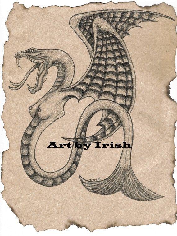 Aged or B&W Lady Dragon prints 8 1/2 x 11 prints by ArtbyIrish, $5.00