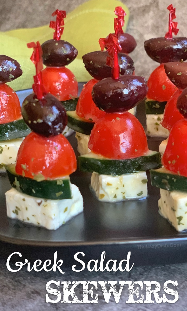 Photo of Greek Salad Skewers (An Easy, Make Ahead Party Appetizer!)