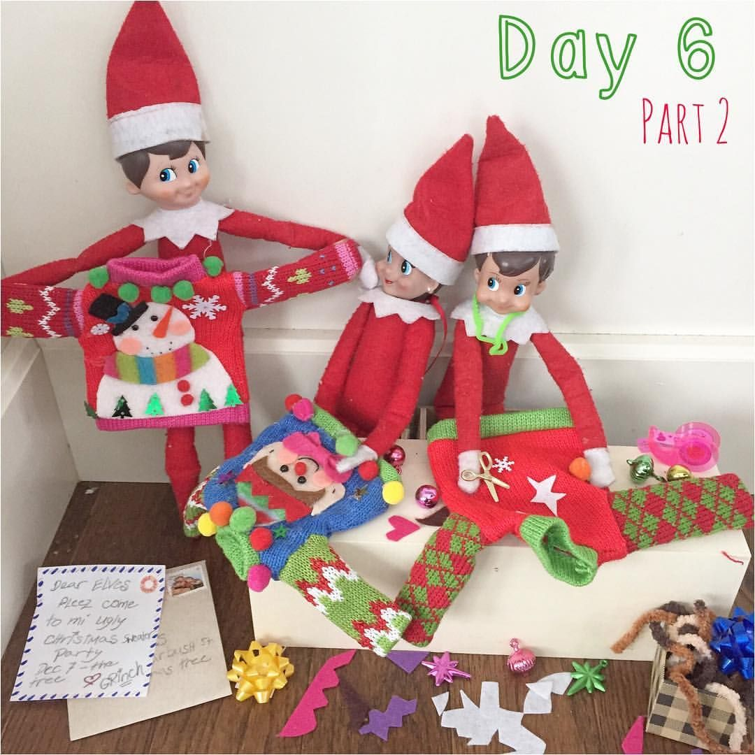 The party's tomorrow! We know our elves knit their own sweaters so now it's just a matter of bringing the tacky!  #elfontheshelf #elfontheshelf2016 #uglychristmassweaterparty #tackychristmassweater #artsandcrafts #tackychristmas #cozy #scoutelves