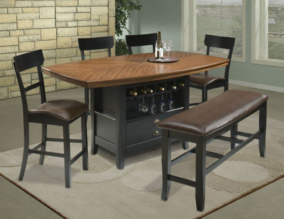 Comfortable Dining Room High Top Table Sets With Bench And Storage
