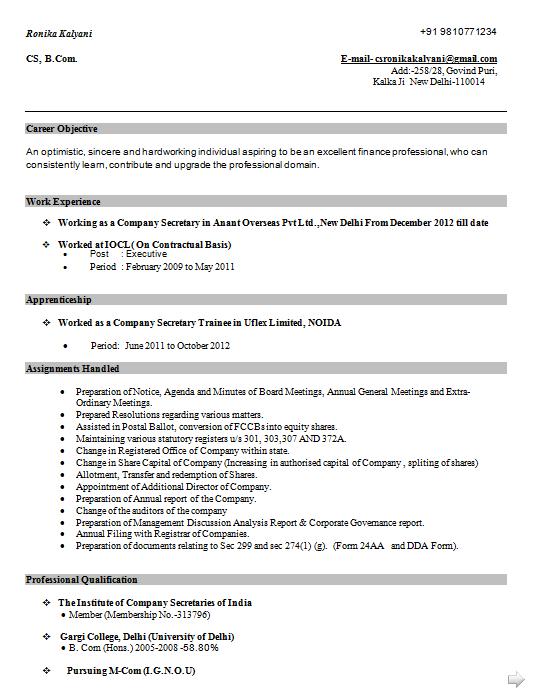 Company Secretary Cv Template Excellent Cv Resume Curriculum