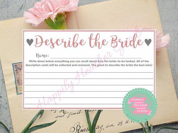 describe the bride bridal shower game printable bridal shower games bridal shower fun pastel pink bridal shower