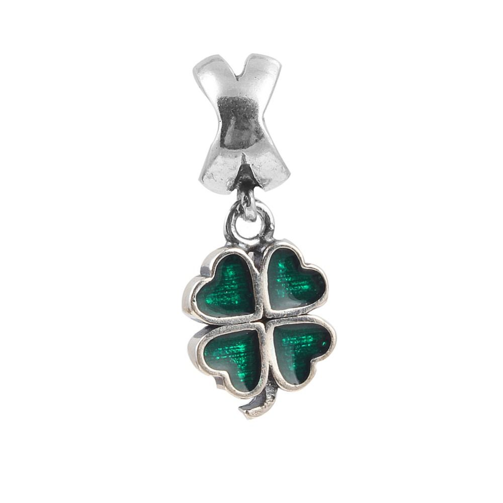 Zmzy sterling silver four leaf clover charms beads fit original