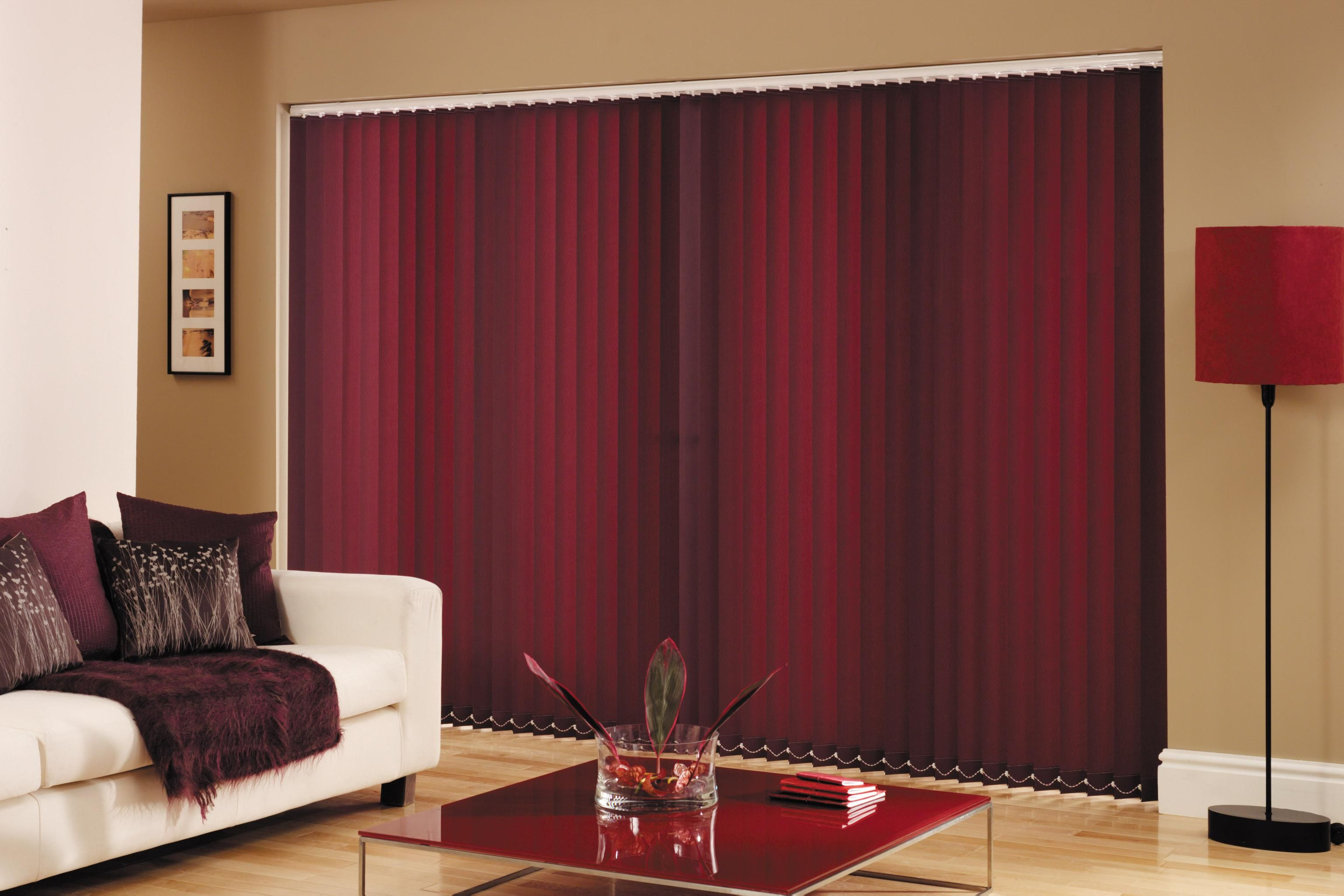 Exterior Interior Large Patio Door Covering With Vertical Red