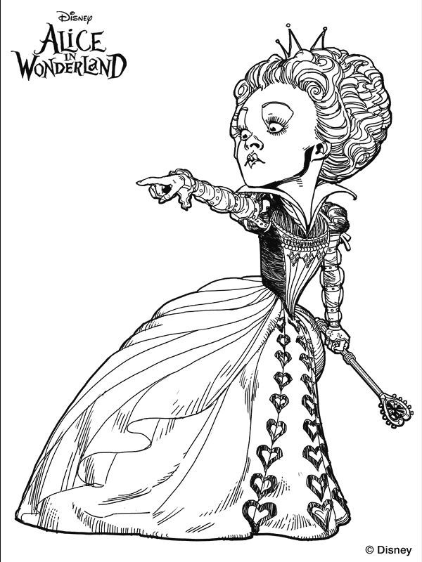 Alice Wonderland Tim Burton Coloring Pages