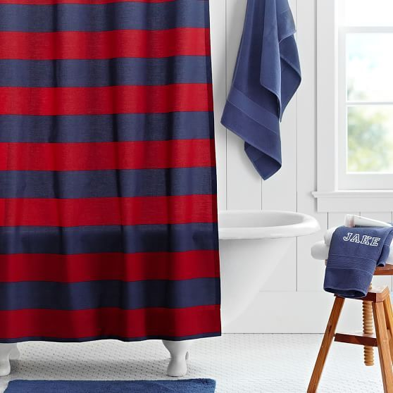 Rugby Stripe Shower Curtain Navy Red Red Shower Curtains