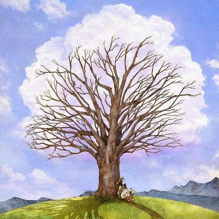 Tree story #2 - Cloud tree 나무 이야기 #2 - 구름나무  Large cotton clouds floating by wind got caught by a branch, and formed a cloud tree full of white leaves.  Tree shakes its branches as if it is happy to have new leaves.  바람결에 흘러가는 뭉게구름이 나뭇가지에 걸려, 하얀 잎이 무성한 구름나무가 되었어요.  새 잎사귀들을 갖게 된 나무는 기분 좋은 듯 가지를 흔들어 보입니다.  (Full Ver. grafolio.com/works/220815)