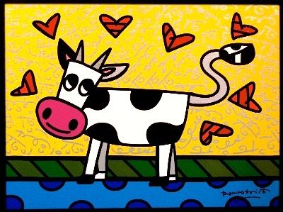 Romero britto cow animaux vari s art pop art et romero britto - Coloriage fleur britto ...