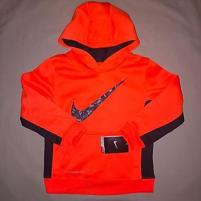 Boys Size 6 Nike Therma Fit Print Pullover Hoodie Jacket Orange Nwt