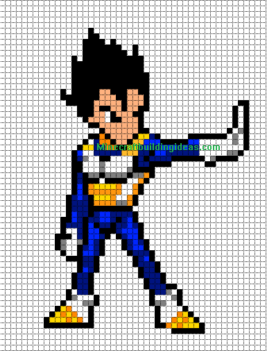 Vegeta Dragon Ball Z Minecraft Pixel Art Pixel Art Pixel Art