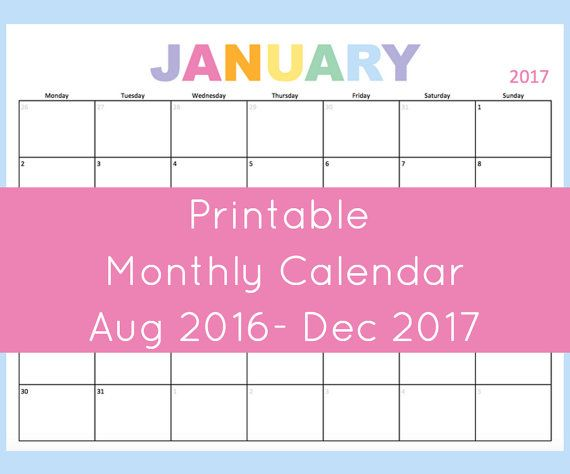 Printable monthly calendar 2016 and 2017. This dated calendar has ...