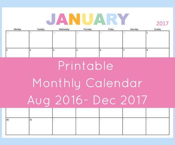 Calendar Printable Monthly Calendar  Calendar Printable