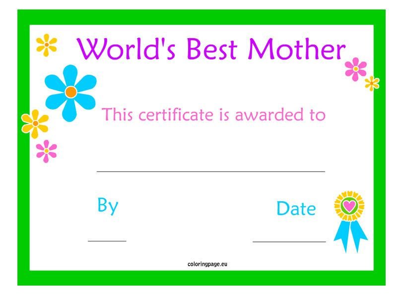 Mother\'s Day Certificate | Freebies & Printables | Pinterest | Day ...