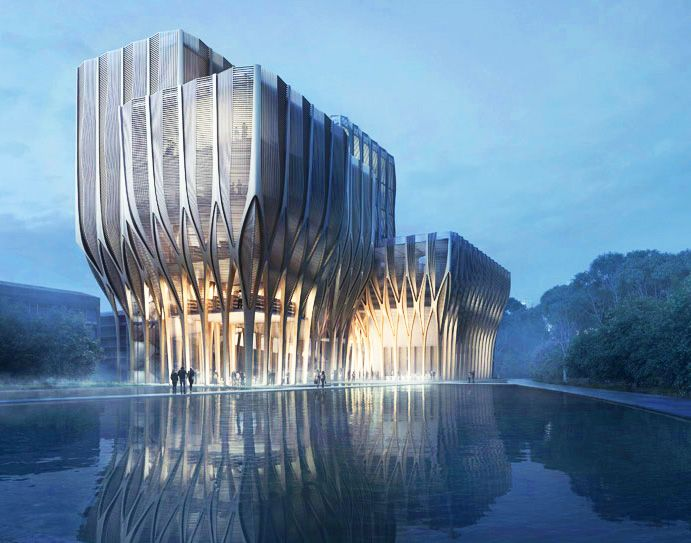 zaha hadids sleuk rith institute sprouts like a forest in cambodia - Zaha Hadid Architect Buildings