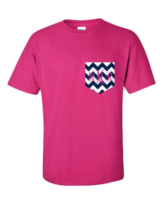 chevron monogram pocket t shirt tshirt personalized