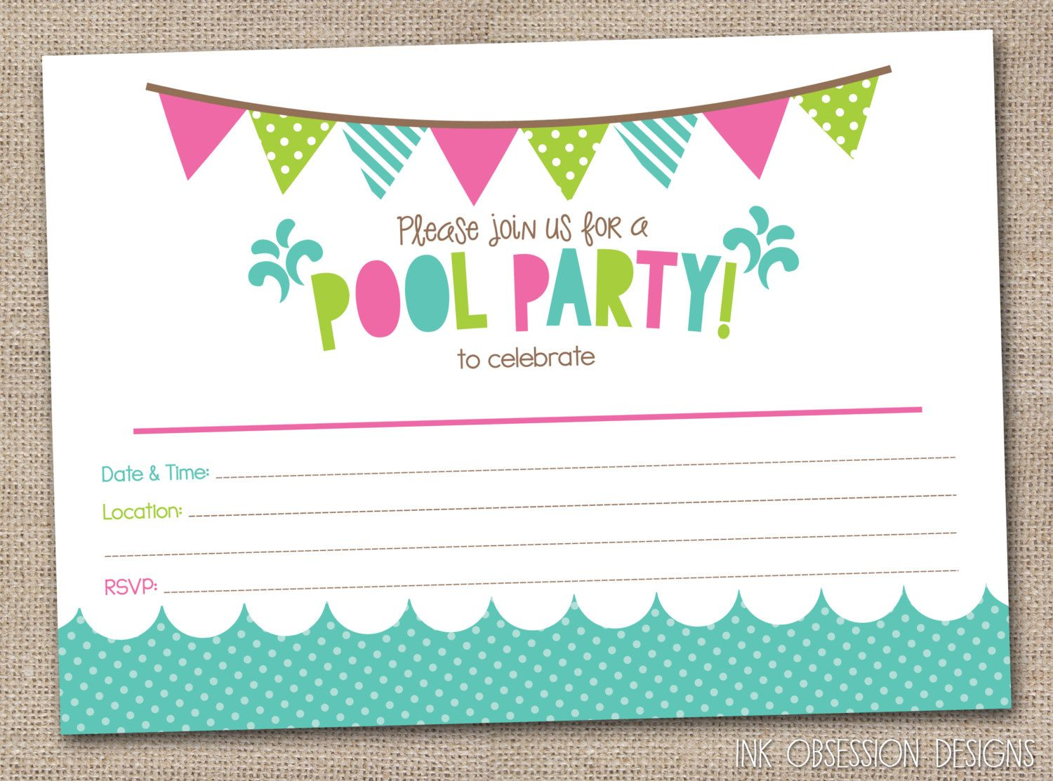 Girls Pool Party Printable Invitation Fill by InkObsessionDesigns – Printable Birthday Party Invitation Cards
