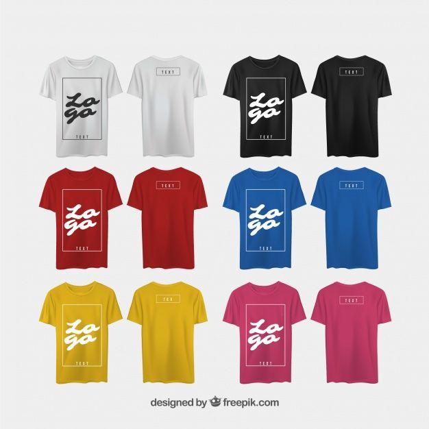 Camiseta de hombre en diferentes perspectivas con estilo realista vector  gratuito 2ac6db7e656