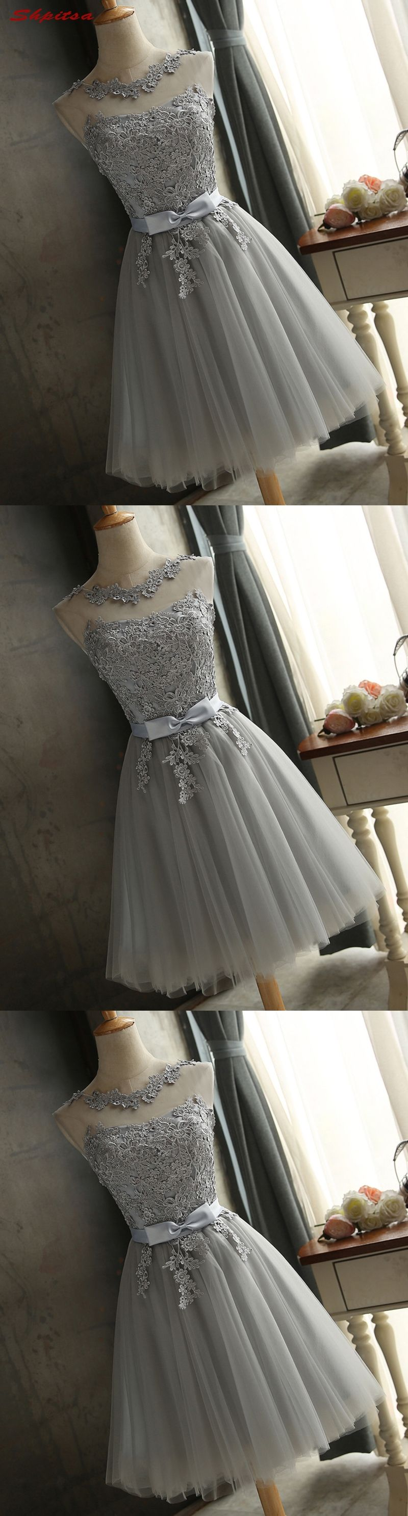 9b7bd91872 Silver Gray Short Homecoming Dresses 8th Grade Prom Dresses Junior High  Cute Graduation Formal Dresses mezuniyet elbiseleri