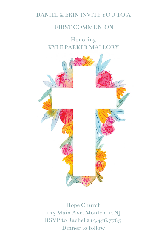 cross flowers invitation template customize add text and photos print download send online for free invitations printable diy template communion