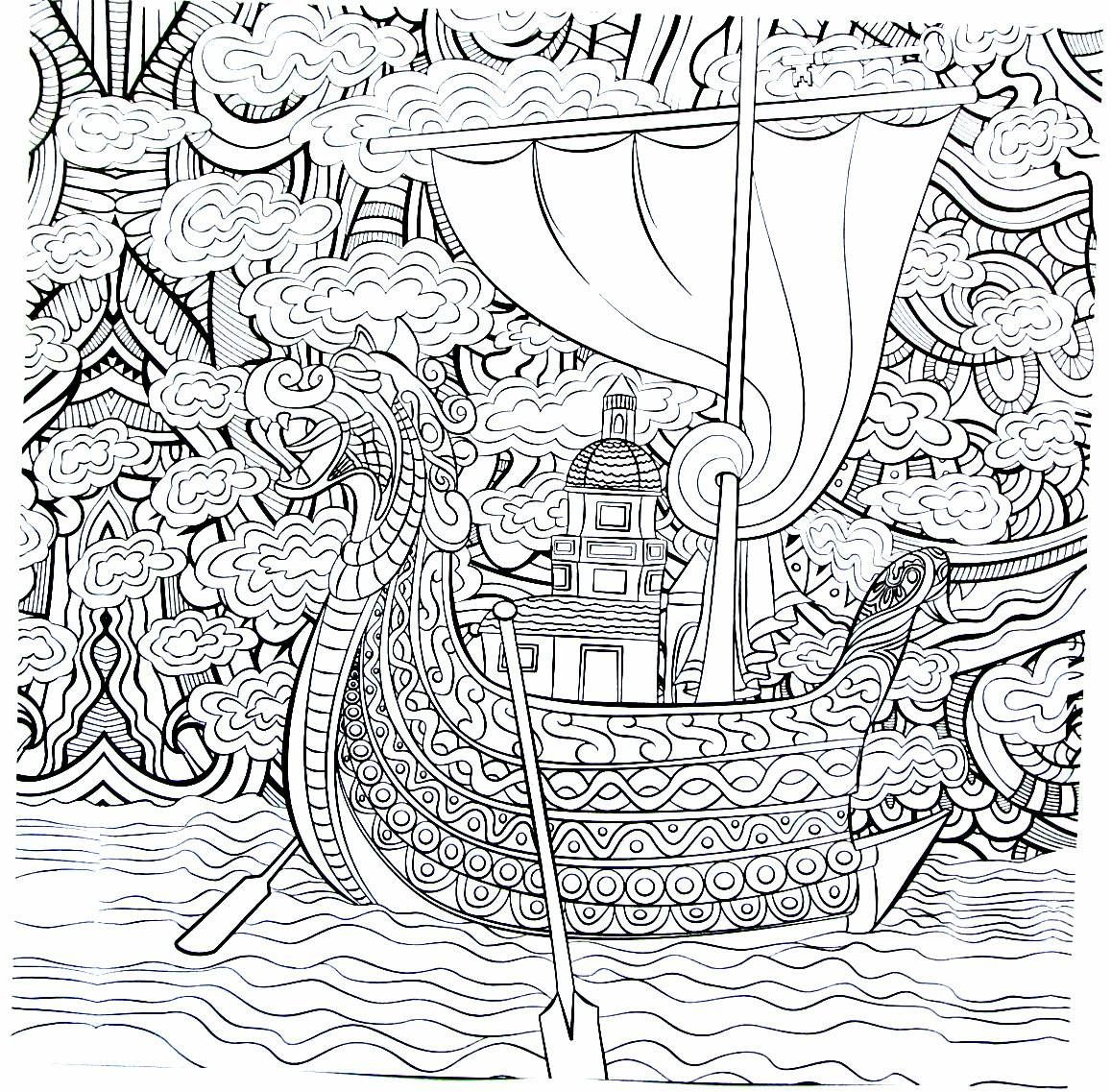 Viking Ship Detailed Coloring Book Page For Adults Coloring Book Pages Coloring Books Coloring Pages