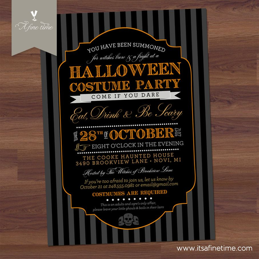 Printable Halloween Invitation, ,DIY Halloween Costume Party ...
