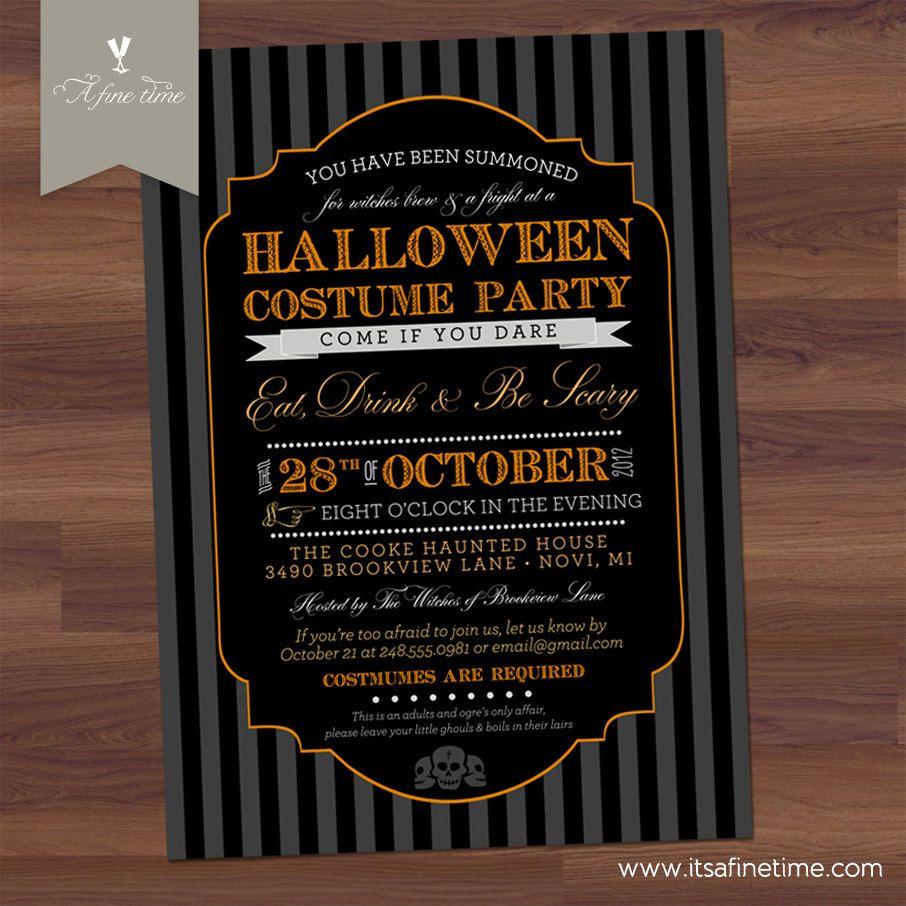 Halloween Invitation Costume Party Invite Skulls