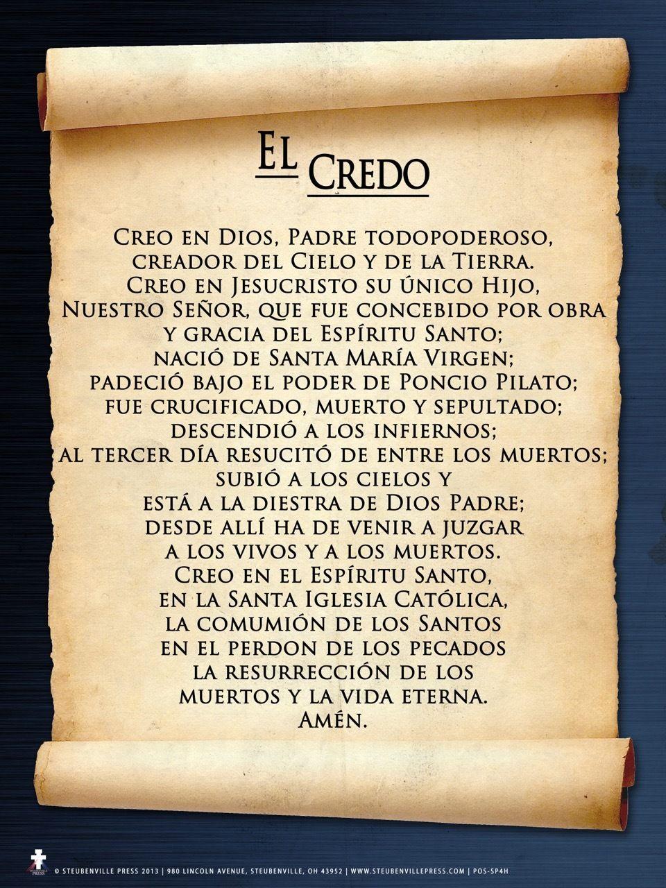 Spanish Apostles' Creed Poster Apostles creed, Catholic