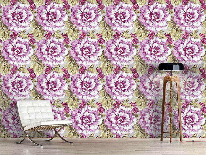 Design #Tapete Rosen Und Himbeeren