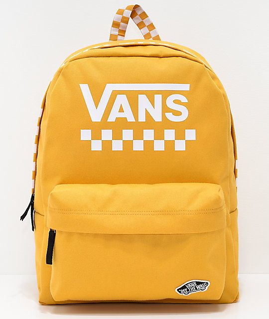Vans Sporty Realm Yellow Checkerboard Backpack in 2019 | fashion ...