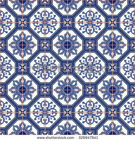 gorgeous seamless pattern from dark blue and white