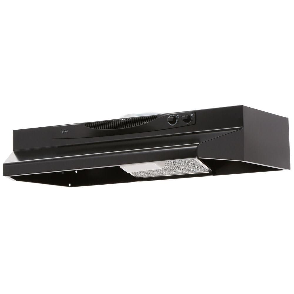 Broan Nutone Acs Series 30 In Convertible Under Cabinet Range Hood With Light In Black Acs30bl The Home Depot Range Hood Under Cabinet Range Hoods Broan