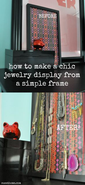 Easy Diy Necklace Holder Just Frame Nails And A Pretty Piece Of