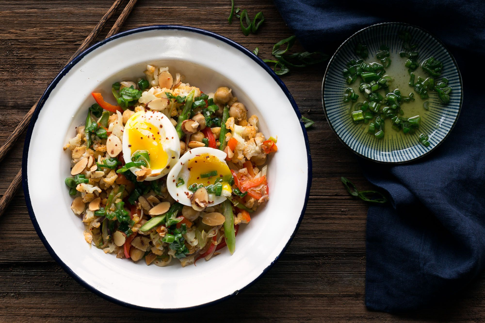 Chickpea and cauliflower fried rice with a soft cooked egg