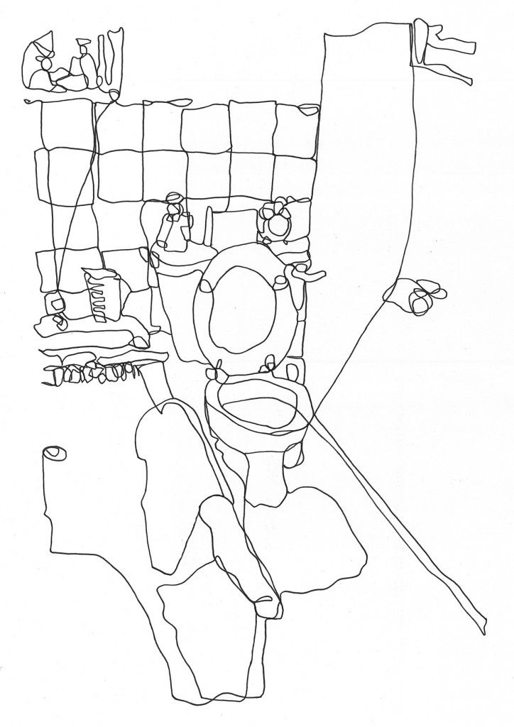 Line Art Bathroom : Line continuous drawing wc