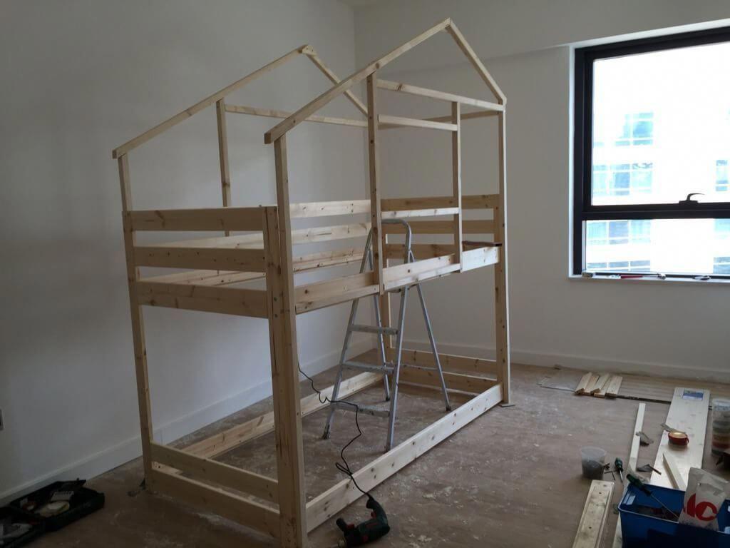 Loft bed with slide kmart  Make an Indoor Playhouse  Bunk Bed IKEA MYDAL hack