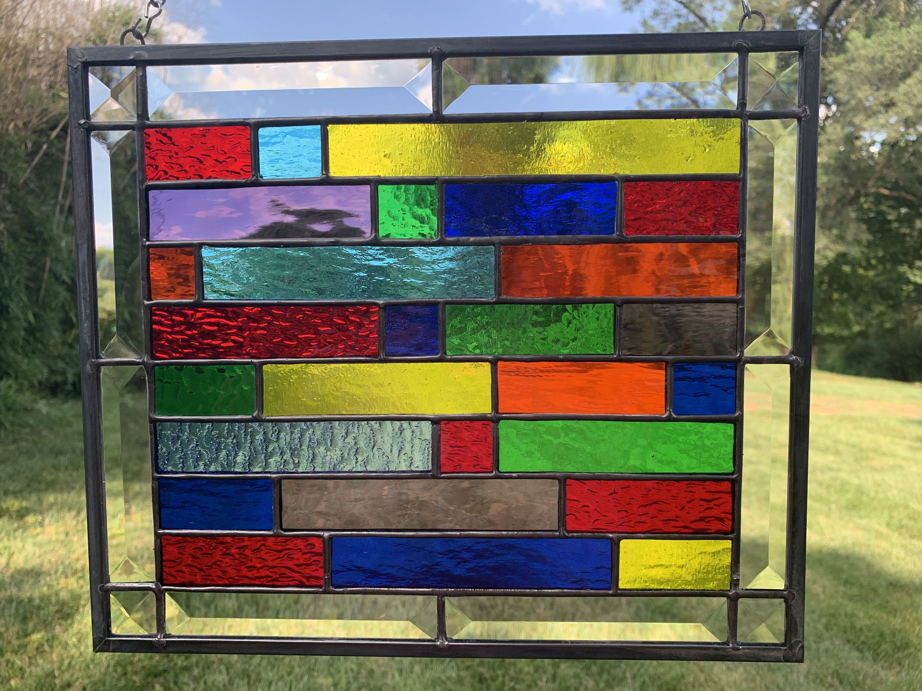 Colorful Stained Glass Panel Window Hanging 10 X 12 Church Window Brick Pattern Ge Stained Glass Patterns Stained Glass Panel Stained Glass Window Panel