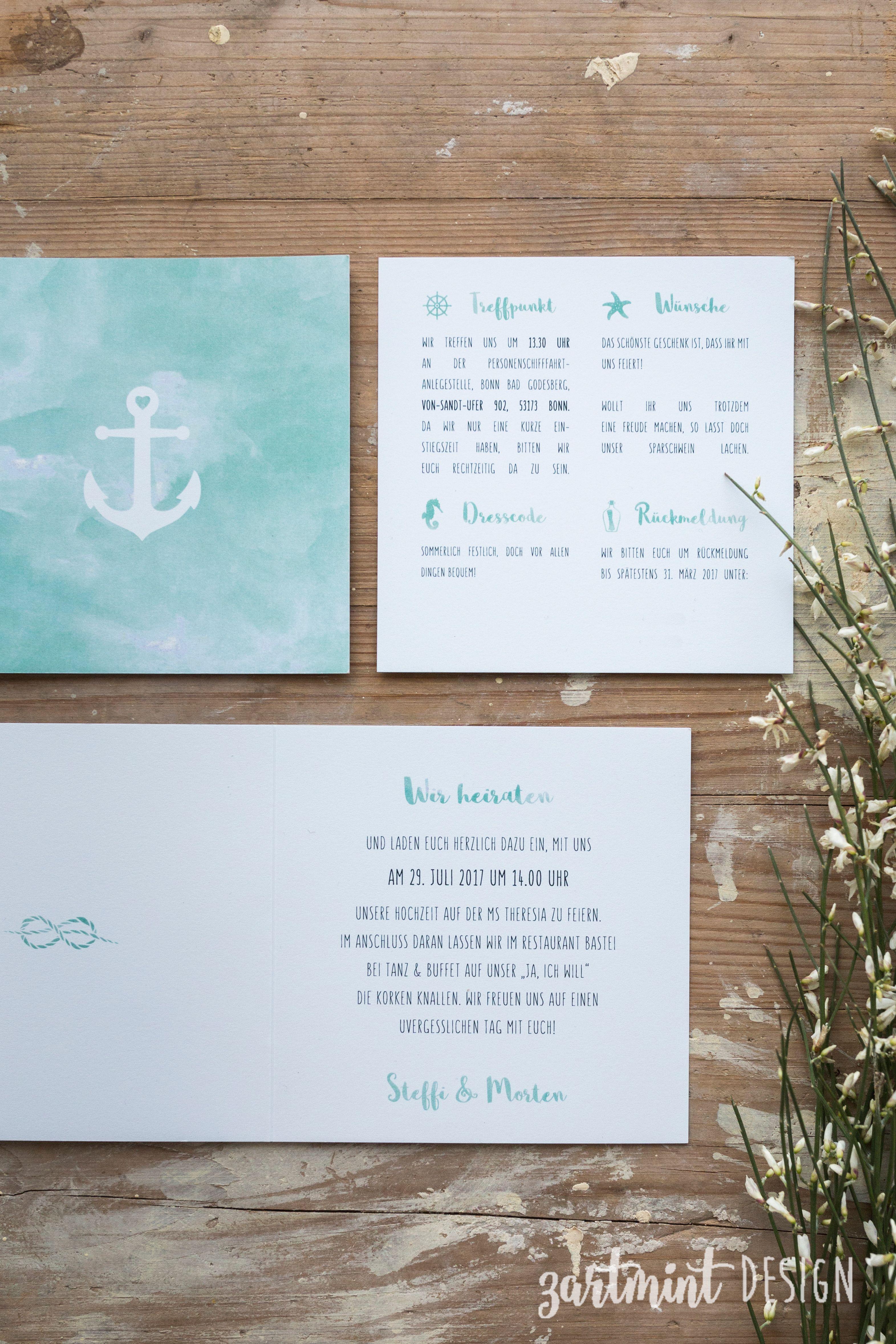 Hochzeitspapeterie Hochzeitseinladung Maritim Mit Anker Und Silber