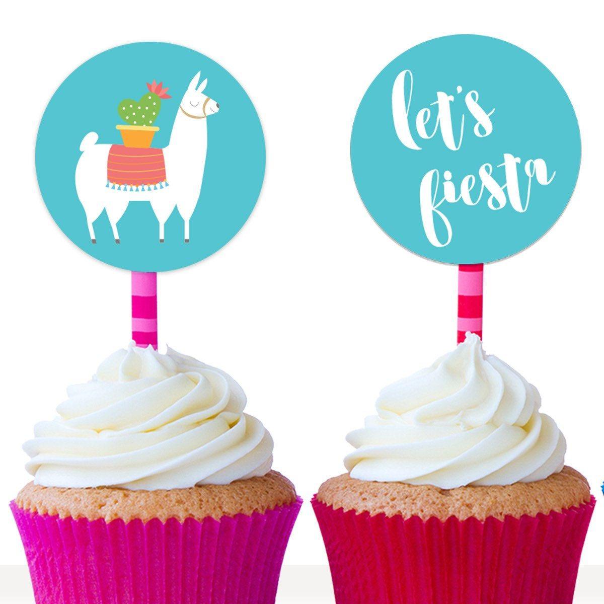 Llama cupcake toppers llama cake toppers fiesta cupcake