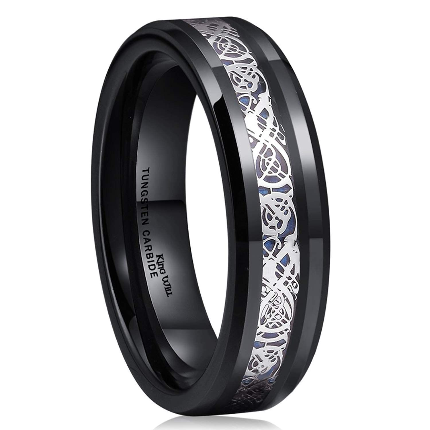 King Will Dragon 6mm Black Tungsten Carbide Ring Blue Carbon Fiber Silver Celtic Wedding Band Wonderful Of You To Have Dropped By Visit Our: Bands Celtic Black Wedding Tungsten With At Websimilar.org