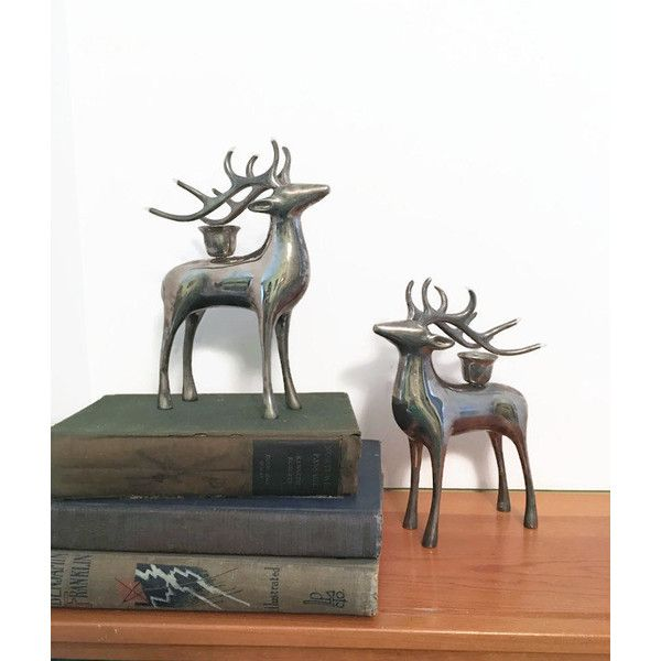 ON SALE Silver Chrome Deer Candle Holder ~Reindeer Christmas... ($41) ❤ liked on Polyvore featuring home, home decor, deer home decor, christmas home decor, silver home decor, antler home decor and silver home accessories