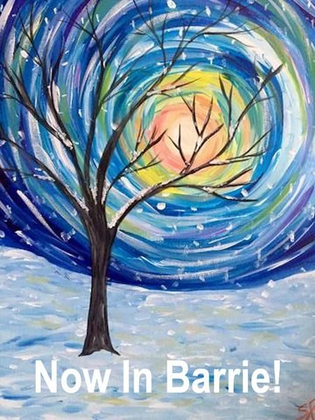 """East Side Mario's Paint Night, Barrie Jan 25th, 2018 (7-9pm) - """"Snow Light"""" Join Paint & Cocktails  (7-9 pm) for a paint night where you and your friends get to enjoy sipping some wine, or downing a pint while picking up a brush! A 2 hour fun paint night with our artist who will guide you through step by step, from start to finished painting that you get to take home. All of the equipment is included! 16x20"""" Canvas, brushes, apron, acrylic paint and easel. A great relaxed & creative night…"""