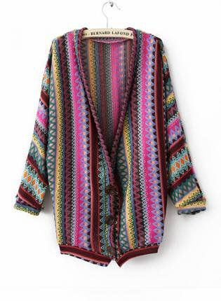 Mayan Pattern Embroidery Cardigan | Knitted coat, Sweaters