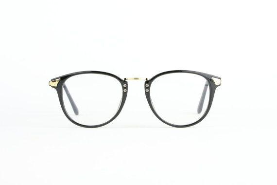 panto black round glasses mens women spectacle black gold. Black Bedroom Furniture Sets. Home Design Ideas