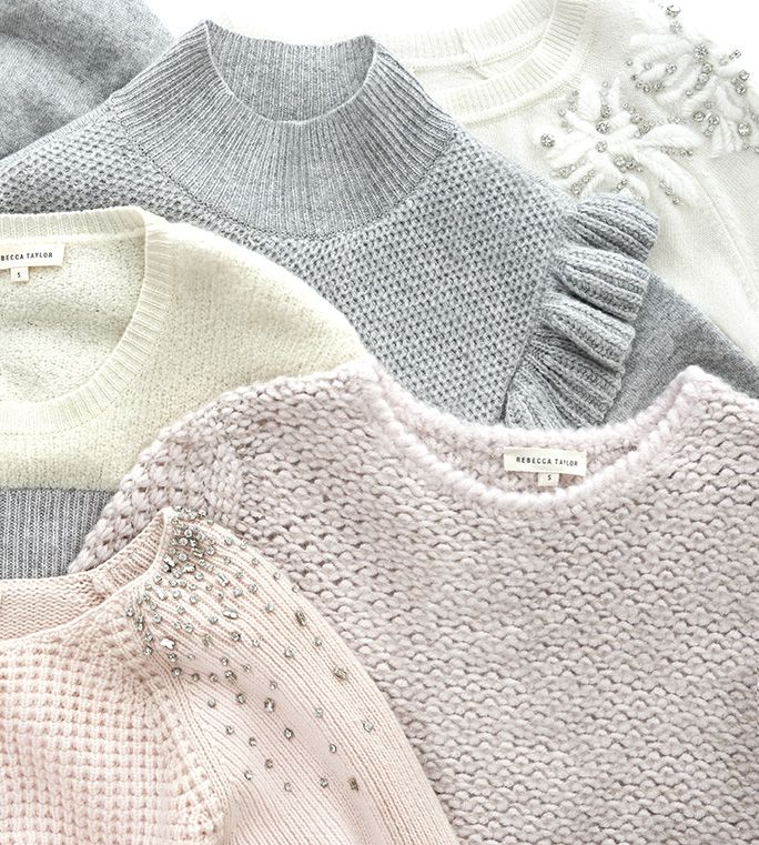 Add a little sparkle to your wardrobe with our soft knits with extra special embellishments. Shop holiday sweaters here.