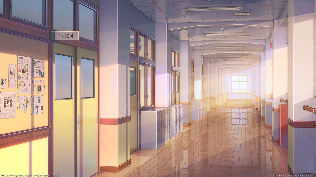 背景 高等学校 Arsenixcのイラスト アニメの風景 学校 廊下 背景画